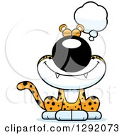 Clipart Of A Cartoon Dreaming Or Thinking Leopard Big Cat Sitting Royalty Free Vector Illustration