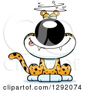 Clipart Of A Cartoon Drunk Or Dizzy Leopard Big Cat Sitting Royalty Free Vector Illustration