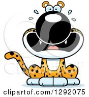 Clipart Of A Cartoon Scared Screaming Leopard Big Cat Sitting Royalty Free Vector Illustration