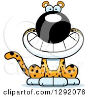 Clipart Of A Cartoon Happy Grinning Leopard Big Cat Sitting Royalty Free Vector Illustration
