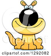 Cartoon Happy Sitting Yellow Kangaroo