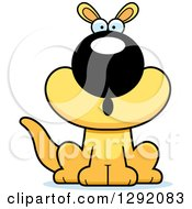 Clipart Of A Cartoon Surprised Gasping Sitting Yellow Kangaroo Royalty Free Vector Illustration