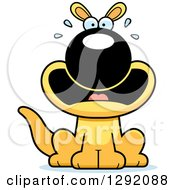 Clipart Of A Cartoon Scared Screaming Sitting Yellow Kangaroo Royalty Free Vector Illustration by Cory Thoman