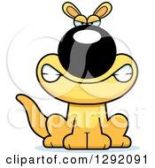 Clipart Of A Cartoon Mad Snarling Sitting Yellow Kangaroo Royalty Free Vector Illustration by Cory Thoman