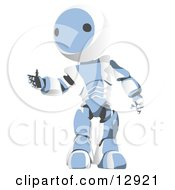 Friendly Blue Metal Robot Reaching Out A Hand Clipart Illustration by Leo Blanchette