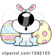 Clipart Of A Cartoon Surprised Gasping White Easter Bunny With Eggs Royalty Free Vector Illustration by Cory Thoman