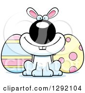 Cartoon Happy White Easter Bunny With Eggs