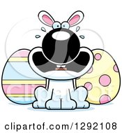 Clipart Of A Cartoon Scared Screaming White Easter Bunny With Eggs Royalty Free Vector Illustration by Cory Thoman