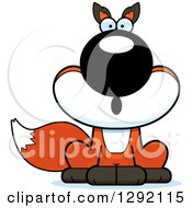 Clipart Of A Cartoon Surprised Gasping Sitting Fox Royalty Free Vector Illustration by Cory Thoman