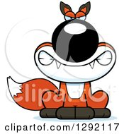 Clipart Of A Cartoon Mad Snarling Sitting Fox Royalty Free Vector Illustration by Cory Thoman