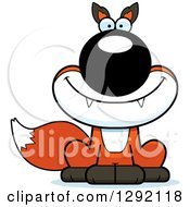 Clipart Of A Cartoon Happy Sitting Fox Royalty Free Vector Illustration by Cory Thoman