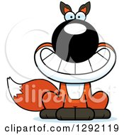 Clipart Of A Cartoon Grinning Happy Sitting Fox Royalty Free Vector Illustration by Cory Thoman