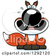 Clipart Of A Cartoon Scared Screaming Sitting Fox Royalty Free Vector Illustration by Cory Thoman