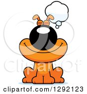 Clipart Of A Cartoon Happy Orange Dog Thinking Or Dreaming Royalty Free Vector Illustration