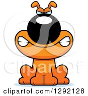 Clipart Of A Cartoon Mad Orange Dog Snarling Royalty Free Vector Illustration