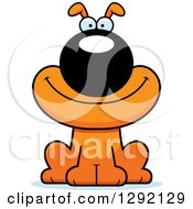 Clipart Of A Cartoon Happy Orange Dog Royalty Free Vector Illustration