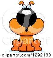 Clipart Of A Cartoon Surprised Gasping Orange Dog Royalty Free Vector Illustration