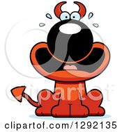 Clipart Of A Cartoon Scared Screaming Devil Dog Royalty Free Vector Illustration