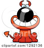 Clipart Of A Cartoon Happy Grinning Devil Dog Royalty Free Vector Illustration