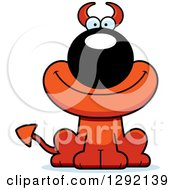 Clipart Of A Cartoon Happy Devil Dog Royalty Free Vector Illustration by Cory Thoman