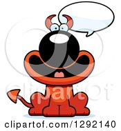 Clipart Of A Cartoon Talking Happy Devil Dog Royalty Free Vector Illustration