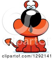 Clipart Of A Cartoon Surprised Gasping Devil Dog Royalty Free Vector Illustration
