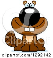 Clipart Of A Cartoon Happy Smiling Beaver Royalty Free Vector Illustration