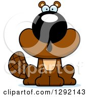Clipart Of A Cartoon Surprised Gasping Beaver Royalty Free Vector Illustration
