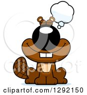 Clipart Of A Cartoon Happy Dreaming Or Thinking Beaver Royalty Free Vector Illustration by Cory Thoman