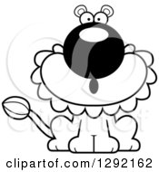 Lineart Clipart Of A Black And White Cartoon Surprised Gasping Male Lion Sitting Royalty Free Animal Vector Illustration