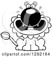 Lineart Clipart Of A Black And White Cartoon Scared Screaming Male Lion Sitting Royalty Free Animal Vector Illustration