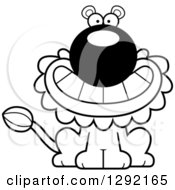 Lineart Clipart Of A Black And White Cartoon Happy Grinning Male Lion Sitting Royalty Free Animal Vector Illustration