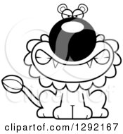 Lineart Clipart Of A Black And White Cartoon Mad Snarling Male Lion Sitting Royalty Free Animal Vector Illustration