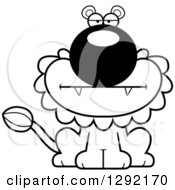 Lineart Clipart Of A Black And White Cartoon Bored Male Lion Sitting Royalty Free Animal Vector Illustration