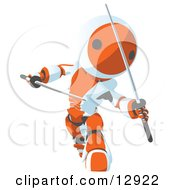 Orange Metal Robot Ninja Fighting With Swords Clipart Illustration