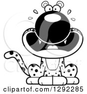 Wild Animal Clipart Of A Black And White Cartoon Scared Screaming Leopard Big Cat Sitting Royalty Free Lineart Vector Illustration