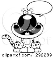 Wild Animal Clipart Of A Black And White Cartoon Happy Talking Leopard Big Cat Sitting Royalty Free Lineart Vector Illustration