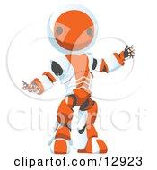 Friendly Orange Metal Robot Clipart Illustration