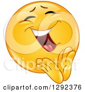 Cartoon Clipart Of A Yellow Smiley Face Emoticon Cheerfully Clapping Royalty Free Vector Illustration