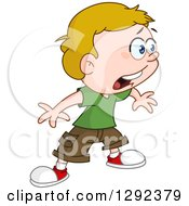 Cartoon Clipart Of A Shocked Blond Caucasian Boy Facing Right Royalty Free Vector Illustration