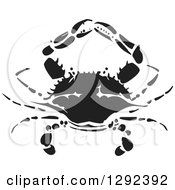 Clipart Of A Black And White Woodcut Crab Royalty Free Vector Illustration