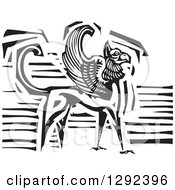 Fantasy Clipart Of A Black And White Woodcut Griffin Creature Royalty Free Vector Illustration
