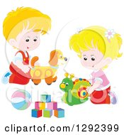 Clipart Of Blond Caucasian Children Playing With A Toy Dog Snail Ball And Blocks Royalty Free Vector Illustration