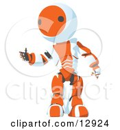 Nice Orange Metal Robot Reaching Out Clipart Illustration