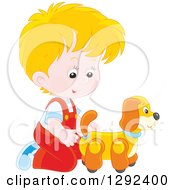 Clipart Of A Blond Caucasian Boy Playing With A Toy Dog Royalty Free Vector Illustration