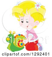 Clipart Of A Blond Caucasian Girl Playing With A Toy Snail Royalty Free Vector Illustration