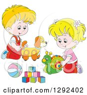 Clipart Of Blond White Children Playing With A Toy Dog Snail Ball And Blocks Royalty Free Vector Illustration
