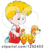 Clipart Of A Blond White Boy Playing With A Toy Dog Royalty Free Vector Illustration