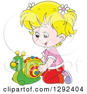 Clipart Of A Blond White Girl Playing With A Toy Snail Royalty Free Vector Illustration by Alex Bannykh