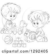 Clipart Of Black And White Children Playing With A Toy Dog Snail Ball And Blocks Royalty Free Vector Illustration